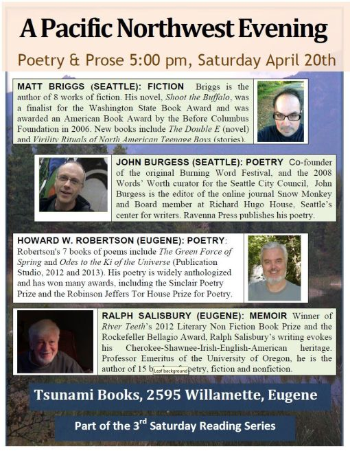 Reading in Eugene on Saturday 4/20, 5 p.m.