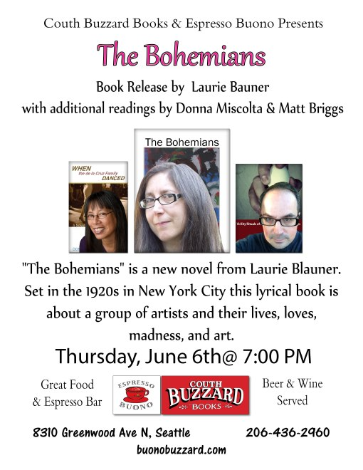 Three Seattle Novelists reading Thursday 6/6 at 7 p.m.